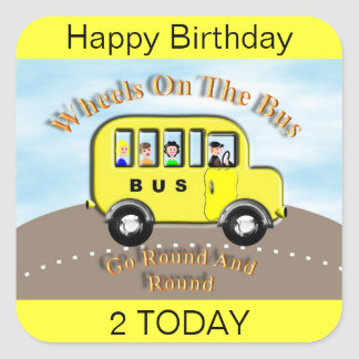 Wheels on the Bus Yellow Label Sticker Cake Topper