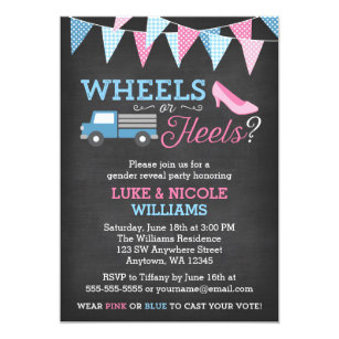 Gender reveal party invitations zazzle wheels or heels gender reveal party invitations stopboris Image collections