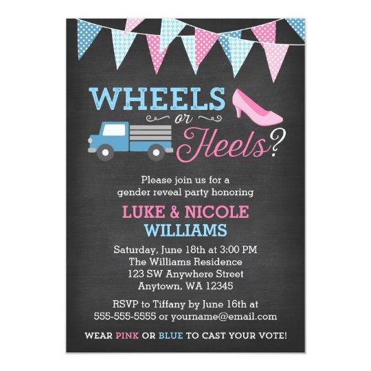 Wheels or heels gender reveal party invitations zazzle wheels or heels gender reveal party invitations stopboris Images