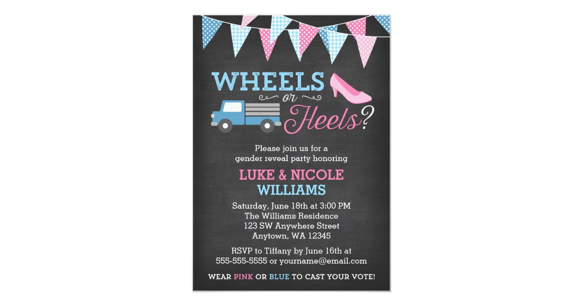 Wheels or Heels Gender Reveal Party Invitations | Zazzle.com