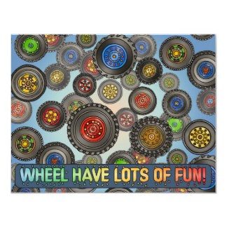 Wheels Tires Car Truck Theme Kids Party Invitation