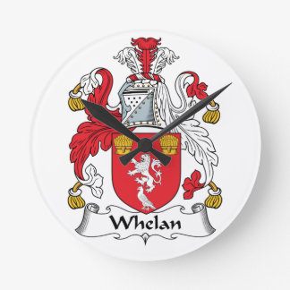 Whelan Family Crest Round Clocks