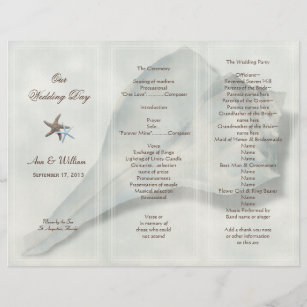 whelk shell tri fold wedding program template