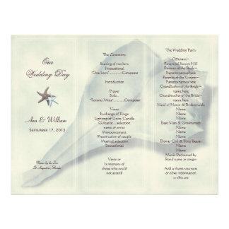 Whelk Shell Tri-Fold Wedding Program Template Letterhead