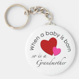 When a baby is born, so is a Grandmother Basic Round Button Keychain