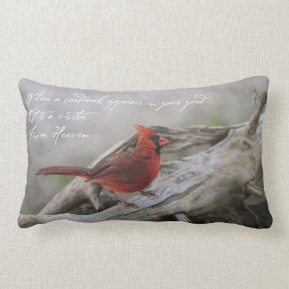 When a cardinal appears in your yard... lumbar pillow