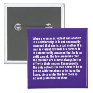 When A Woman Is Violent And Abusive … 2 Inch Square Button