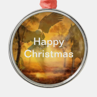 When all is one round metal christmas ornament