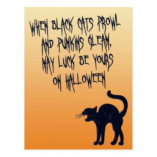 When Black Cats Prowl Halloween Poem Postcard