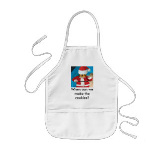 When can we make the cookies? kids' apron