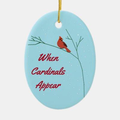 cab503d5 Cardinals Appear When Angels Near Ribbon Ornament | Zazzle.com