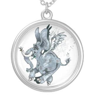 When Elephants Fly! ~necklace Silver Plated Necklace
