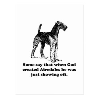 When God Created Airedales Postcard