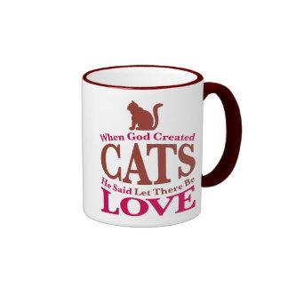 When God Created Cats Ringer Coffee Mug