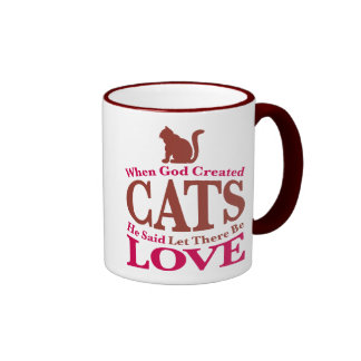 When God Created Cats Ringer Mug