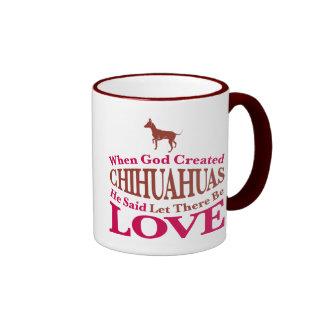 When God Created Chihuahuas Ringer Coffee Mug