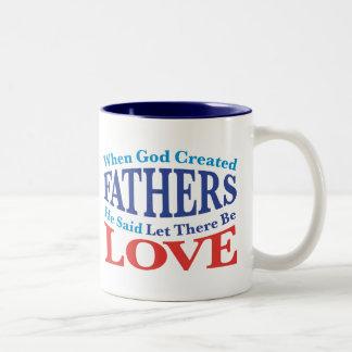 When God Created Fathers Two-Tone Coffee Mug