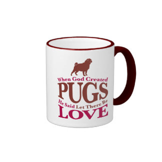 When God Created Pugs Ringer Coffee Mug