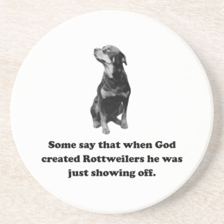When God Created Rottweilers Sandstone Coaster