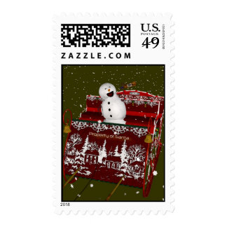"""""""When Good Snowmen Go Bad""""  Holiday Postage Stamps"""