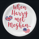 "When Harry met Meghan | Fun Royal Wedding Paper Plate<br><div class=""desc"">NewParkLane - Celebrate the Royal Wedding in May with these fun Paper Plates, with quote &#39;When Harry met Meghan&#39;, in red script typography, and the flags of the United Kingdom and the United States in heart shapes. A great item to commemorate the Royal Wedding of Prince Harry and Meghan Markle...</div>"