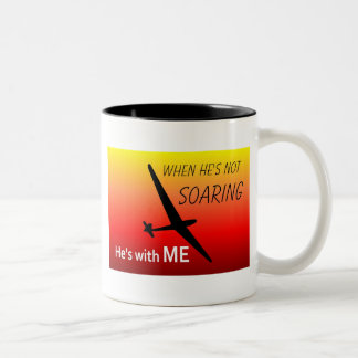 When he's not Soaring He's with me Two-Tone Coffee Mug