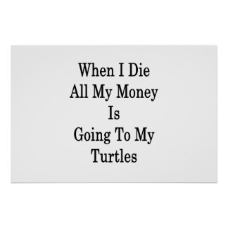 When I Die All My Money Is Going To My Turtles Poster