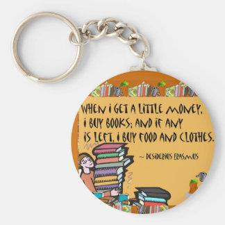 When I get a little money, I buy books Basic Round Button Keychain