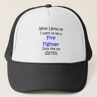 When I grow up Fire Fighter text only Trucker Hat