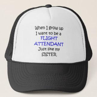 When I grow up Flight Attendant text only Trucker Hat