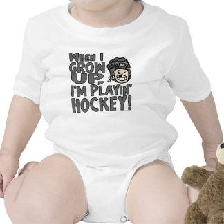 When I Grow Up I m Playing Hockey Black Helmet Bodysuits