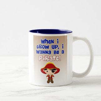 When I Grow Up, I Wanna Be a Pirate Two-Tone Coffee Mug