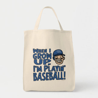 When I Grow Up I'm Playing Baseball Blue Helmet Canvas Bag