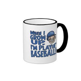 When I Grow Up I'm Playing Baseball Coffee Mugs