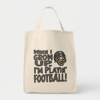 When I Grow Up I'm Playing Football Tote Bags