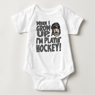 When I Grow Up I'm Playing Hockey Black Helmet Baby Bodysuit