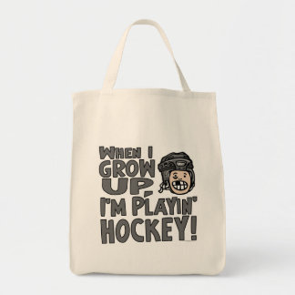 When I Grow Up I'm Playing Hockey Black Helmet Tote Bag
