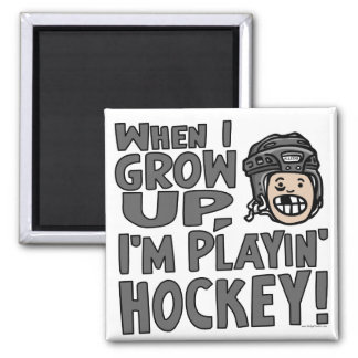 When I Grow Up I'm Playing Hockey Black Helmet Magnet