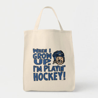 When I Grow Up I'm Playing Hockey Blue Helmet Tote Bag