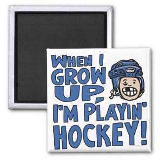 When I Grow Up I'm Playing Hockey Blue Helmet Magnet