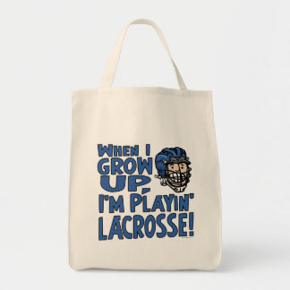 When I Grow Up I'm Playing Lacrosse Blue Helmet Canvas Bag