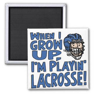 When I Grow Up I'm Playing Lacrosse Blue Helmet Magnet