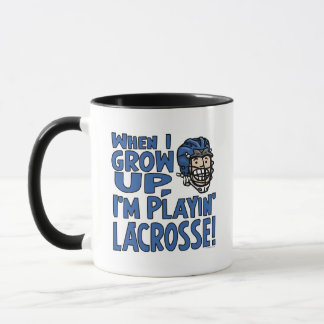 When I Grow Up I'm Playing Lacrosse Blue Helmet Mug