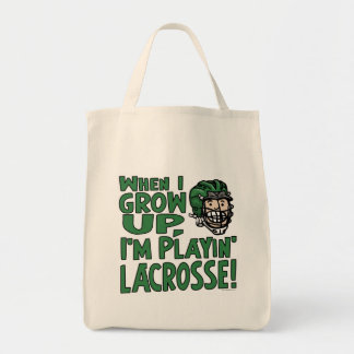 When I Grow Up I'm Playing Lacrosse Green Helmet Canvas Bags