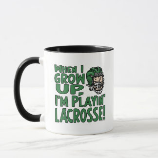 When I Grow Up I'm Playing Lacrosse Green Helmet Mug