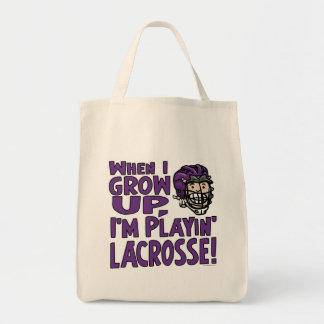 When I Grow Up I'm Playing Lacrosse Purple Helmet Canvas Bags