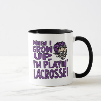 When I Grow Up I'm Playing Lacrosse Purple Helmet Mug
