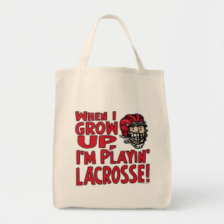 When I Grow Up I'm Playing Lacrosse Red Helmet Bag