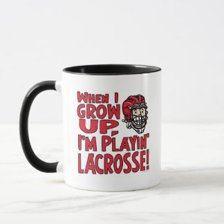When I Grow Up I'm Playing Lacrosse Red Helmet Mug