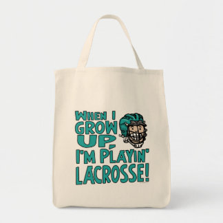 When I Grow Up I'm Playing Lacrosse Teal Helmet Tote Bag